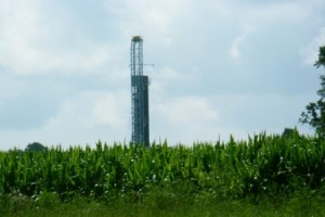 New well rising out of the corn field