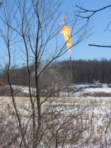 Flaring in at the new fracking well pad in Western PA on the boundary of Villa Maria
