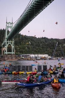 Activists hang from bridge in attempt to stop Shell from drilling in the Arctic. Pic: 350 PDX
